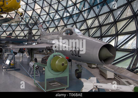 Yugoslavian Air Force Mikoyan-Gurevich MiG-21F-L12/F13 at a display in Serbian Aeronautical museum in Belgrade - Stock Image