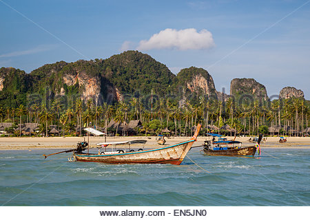 Long tail boats in Loh Bagao Bay - Koh Phi Phi Don - Thailand - Stock Image