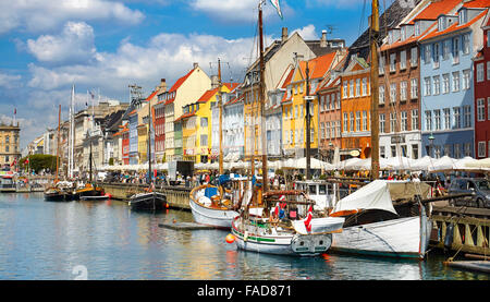 Copenhagen, Denmark - the boat in Nyhavn Canal - Stock Image