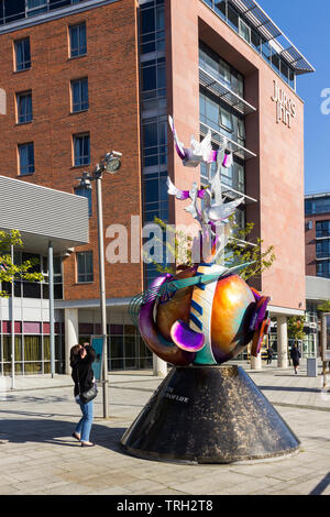 The John Lennon Peace Monument, properly entitled Peace & Harmony is an artwork by artist Lauren Voiers,  fabricated by Lyle London at Art in Metal in - Stock Image