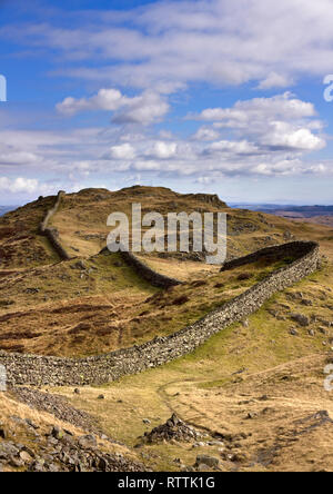 Long meandering drystone wall on Lingmoor Fell, Langdale, Lake District, Cumbria, England, UK. - Stock Image