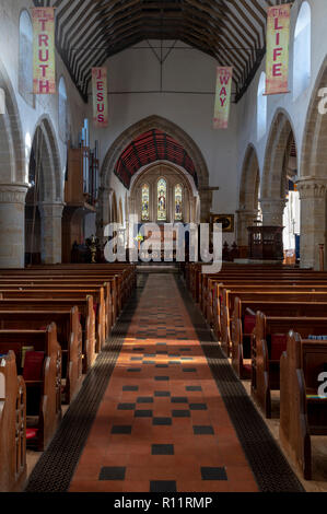 Inside St Mary The Virgin Church, Battle, East Sussex. Close to the site of the Battle of Hastings in 1066. Twinned with St Valery Sur Somme. - Stock Image