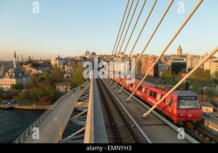 Istanbul skyline from The Golden Horn Metro bridge in Istanbul Turkey - Stock Image