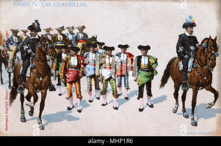 Parade of the bullfighters, Spain.      Date: circa 1908 - Stock Image