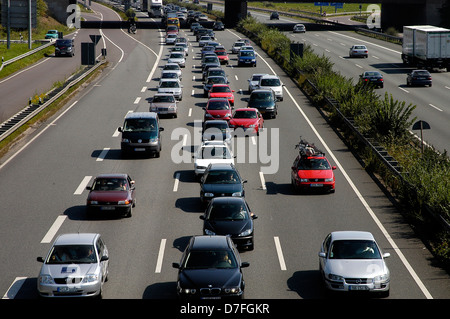 Europe, Germany, Hannover, highway, street, traffic, middle stripe, traffic jam, A2 - Stock Image