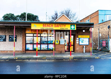 Cleethorpes, Lincolnshire, England 31/12/2018, Cleethorpes beach safety centre, beach safety, building, medical centre, childrens shelter, first aid - Stock Image