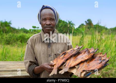 Smoked Tilapia, Ngege, Ugandan man selling fish at the roadside, Street Vendor, Uganda, East Africa - Stock Image