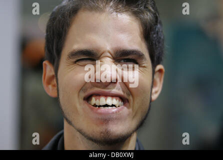 Johann Traber junior, recovered artist after a heavy fall, is pictured at the Rehacare trade fair in Duesseldorf, - Stock Image