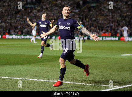 Derby County's Jack Marriott celebrates scoring his side's fourth goal of the game during the Sky Bet Championship Play-Off, Semi Final, Second Leg match at Elland Road, Leeds. - Stock Image