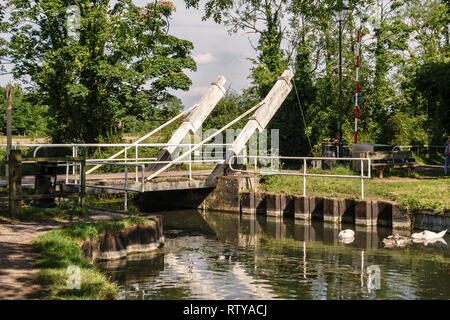 An opening  'bascule' bridge or drawbridge on the Basingstoke Canal near Odiham Castle, Hampshire, UK - Stock Image