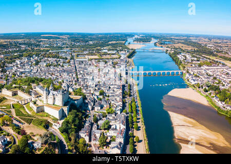 Saumur city aerial panoramic view, Loire valley in France - Stock Image