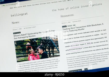 The home page of the website of Bellingcat the online investigative journalism website. - Stock Image