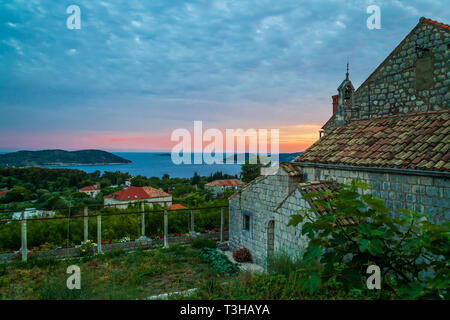 view of the croatian coast from the village of orasac croatia - Stock Image