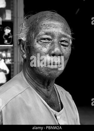 Portrait elderly Asian man, - Stock Image