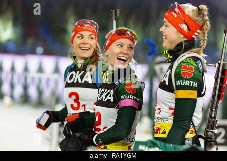 L-R: Hanna Kebinger, Hanna-Michele Hermann, Franziska Pfnür. The German Team Challenge takes place during the JOKA Biathlon WTC auf Schalke featuring young German biathlethes. - Stock Image