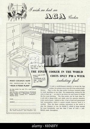 1939 UK Magazine Aga Cooker Advert - Stock Image