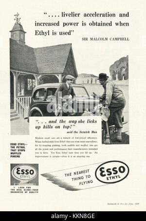 1939 UK Magazine Esso Ethyl Advert - Stock Image