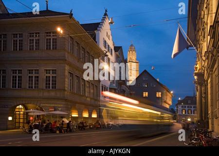 Switzerland Zurich Limmatquai townhall Zunfthaus zum Safran tram background Grossmunster - Stock Image
