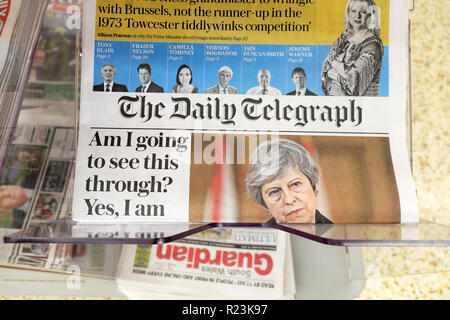 The Daily Telegraph newspaper headline 'Am I going to see this through?  Yes, I am' on Brexit deal in London UK 16 November 2018 - Stock Image