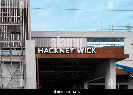 New overground station being built at Hackney Wick, East London, April 2018 - Stock Image