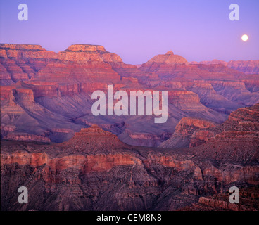 Full moon rising over Grand Canyon, view from South Kaibab Trail below South Rim of Grand Canyon National Park, - Stock Image