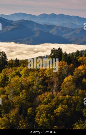 Spectacular mountain range vista with clouds settling in valley, Newfound Gap in the Great Smoky Mountains National Park, Tennessee, USA. - Stock Image