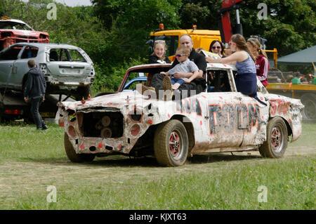 banger race racing racers demolition destruction derby derbies cars crashing crashes car cars stock races bangers - Stock Image
