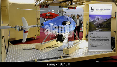Brno, Czech Republic. 29th May, 2019. The fully autonomous and self-sufficient medium-range UAV system with rotary wing design was presented at the international trade fair of defence and security technology IDET, trade fair of security technology and services ISET and trade fair of firefighting technology PYROS in Brno, Czech Republic, May 29, 2019. Credit: Igor Zehl/CTK Photo/Alamy Live News - Stock Image