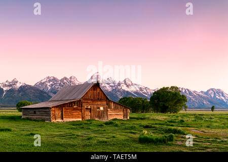 An old barn along Mormon Row with the Grand Tetons in the background near Jackson Hole, Wyoming USA. - Stock Image