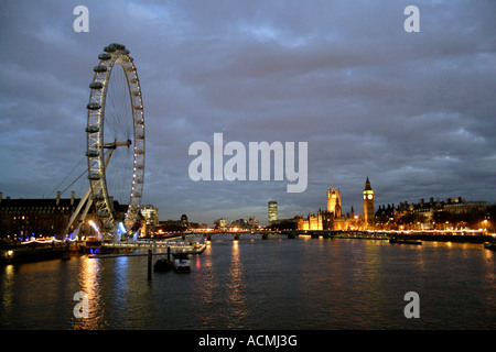 River Thames and London Eye at night London - Stock Image