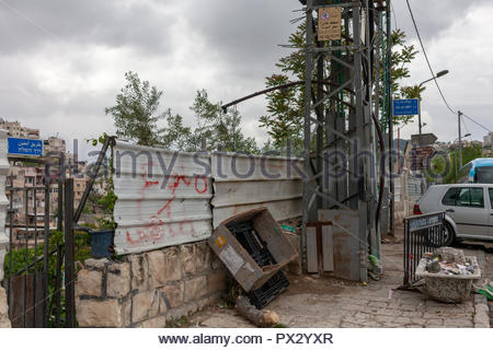 Jerusalem Street Outside of the Main Tourist Area - Stock Image