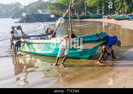Galle, Sri Lanka - March 14th 2011:  Fishermen dragging a boat up on to the beach. The beach is also used as a fish market. - Stock Image