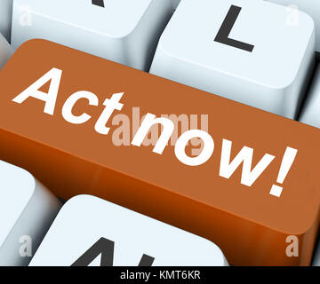 Act Now Key On Keyboard Meaning Do it Or Take Action - Stock Image