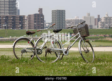 bicycles two boy girls grass spring park suburbia - Stock Image
