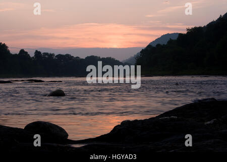 The White River at sunset in Hartford, Vermont.  Connecticut River tributary. - Stock Image