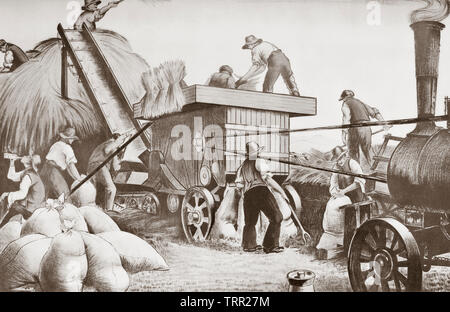 Threshing in England. After a work by Clare Leighton, (1898-1989).  From a contemporary print c.1935 - Stock Image