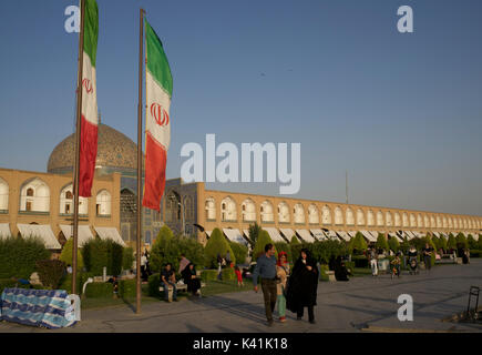 Naqsh-e Jahan Square, known as Imam Square is a popular square situated at the center of Isfahan, Iran. Lotfollah Mosque and bazaar. - Stock Image