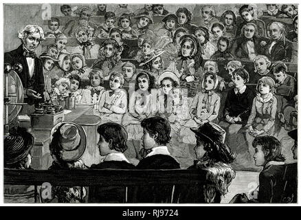 Michael Faraday - English scientist lecturing to children. - Stock Image