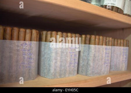 Traditional rolled and wrapped hand made cigars that has been made for the tourist market in La Palma, Gran Canaria. - Stock Image