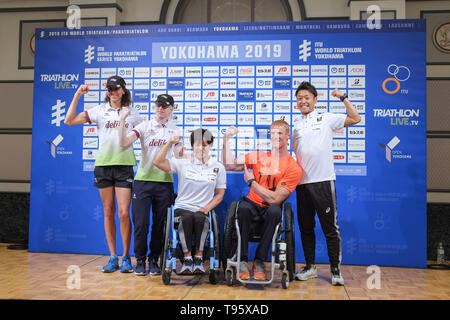 (L-R) Elite, Paratriathlon v.l. Guide with Susana Rodriguez, Wakako Tsuchida, Geert Schipper, Hideki Uda: May 16, 2019, Yokohama, Japan: Press Conference for the 2019 ITU World Triathlon and Paratriathlon Yokohama at the Monterey Hotel in Yokohama, Japan. The race will be held on May 18-19 2019 near Yamashita Park in Yokohama. Credit: Michael Steinebach/AFLO/Alamy Live News - Stock Image