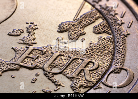 2 euro coin in extremely detailed macro view - Stock Image