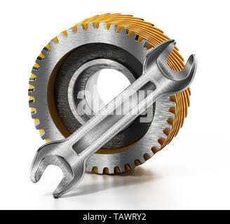 Cogwheel and wrench isolated on white background. 3D illustration. - Stock Image