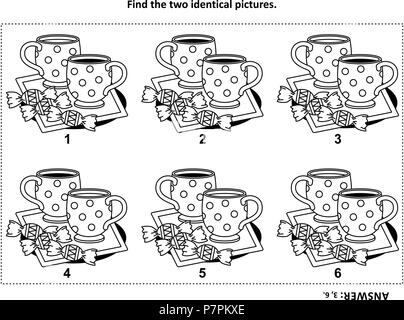 IQ training find the two identical pictures with tea cups and candy visual puzzle and coloring page. Answer included. - Stock Image