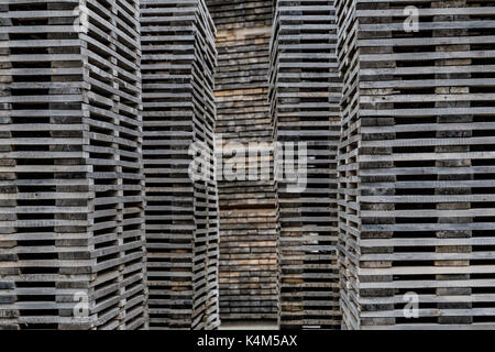 Decayed piles of wooden planks stacked - Stock Image