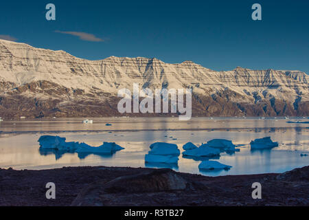 Greenland. Scoresby Sund. Gasefjord. Krogen. Snow-covered mountains and icebergs. - Stock Image