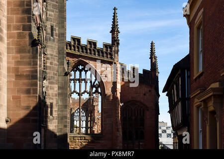 Detail of the ruins of Coventry Cathedral from Bayley Lane in Coventry city centre UK - Stock Image