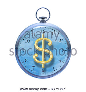 Time is money time management time cost watch with dollar sign on a white background. - Stock Image