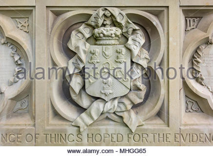 Close up detail of a bas relief on the family tomb of Benjamin Hall, Baron Llanover, at St Bartholomew's Church, Llanover, Monmouthshire, Wales, UK. - Stock Image
