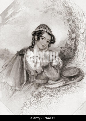 Rosalind.  Principal female character from Shakespeare's play As You Like It.  From Shakespeare Gallery, published c.1840. - Stock Image