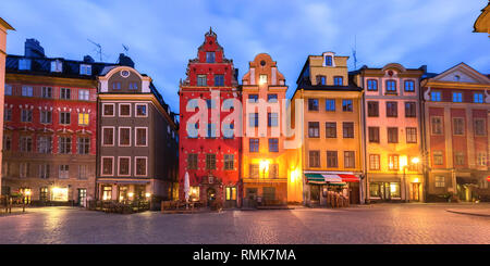 Famous colorful houses on Stortorget square, Gamla Stan in Old Town of Stockholm, the capital of Sweden - Stock Image